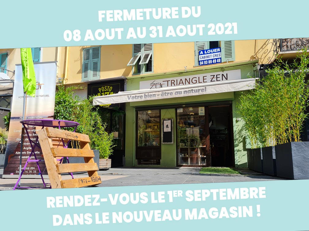 fermeture Triangle Zen du 08 au 31 aout 2021